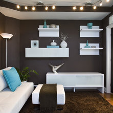 floating shelves in livingroom contemporary living room by fava design group