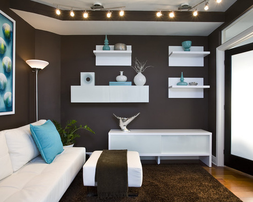 contemporary living roomg turquoise and brown