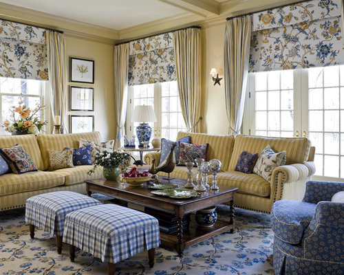 Inspiration for a timeless living room remodel in New York with yellow wallsBlue Plaid Couches   Houzz. Plaid Living Room Furniture. Home Design Ideas