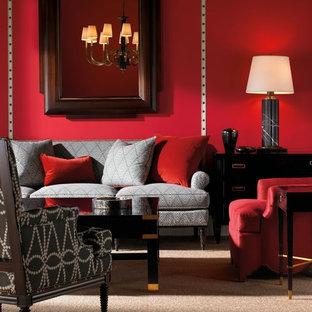 Immagine di un soggiorno boho chic aperto con pareti rosse e moquette