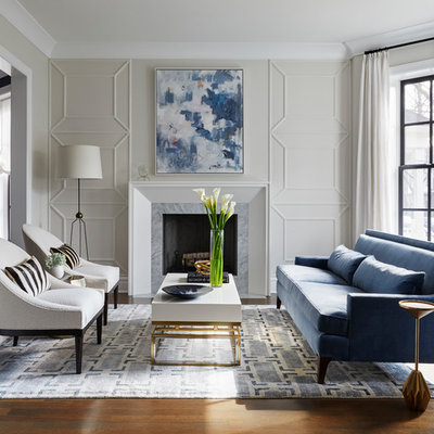 Inspiration for a mid-sized transitional formal dark wood floor living room remodel in Chicago with a stone fireplace, gray walls and a standard fireplace