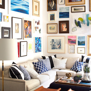 Example of a classic open concept living room design in San Francisco