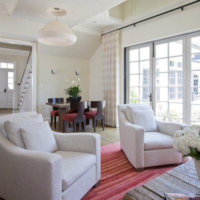 Inspiration for a contemporary open concept living room remodel in DC Metro with beige walls