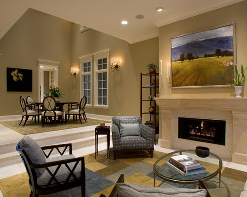 Charmant Elegant Living Room Photo In Chicago With A Stone Fireplace
