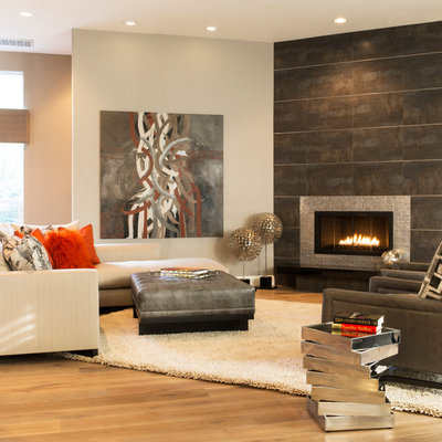 Trendy open concept living room photo in Sacramento with beige walls, a ribbon fireplace, no tv and a tile fireplace