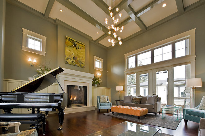 Coffered ceiling for Living room overhead lighting