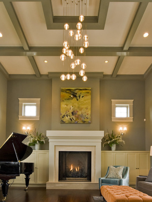 Coffered tray ceiling home design ideas pictures remodel and decor for Lighting for living room with high ceiling