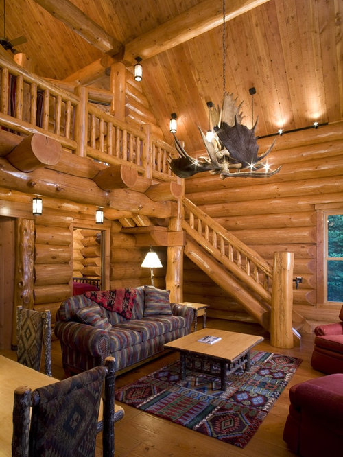 Small log cabins living room design ideas remodels for Log living room