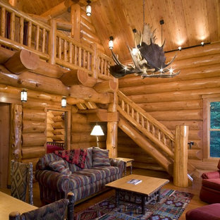 Mountain style open concept living room photo in Minneapolis