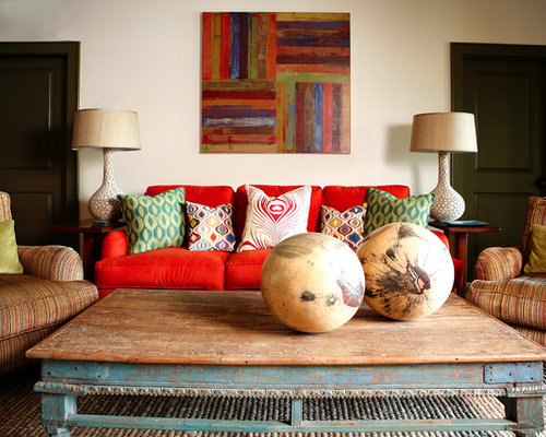 Inspiration For A Large Transitional Enclosed Medium Tone Wood Floor Living Room Remodel In Los Angeles