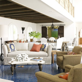 Living room - contemporary open concept blue floor living room idea in Miami with white walls