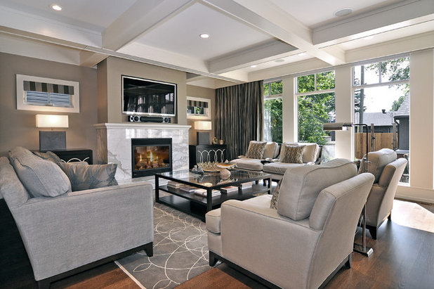 Transitional Living Room by Bruce Johnson & Associates Interior Design