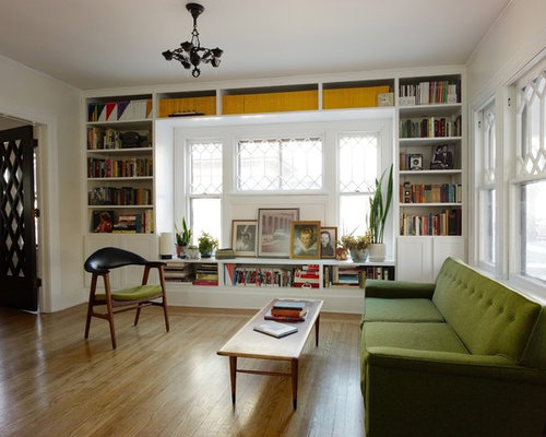 Eclectic Enclosed Living Room Library Photo In Wichita With White Walls Part 58