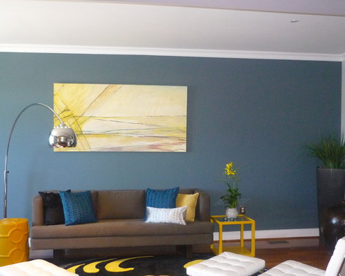 Blue yellow and brown living room design ideas remodels for Living room ideas yellow and blue