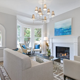Living room - traditional living room idea in San Francisco with gray walls and a standard fireplace