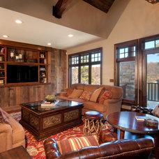 Rustic Living Room by Carl M. Hansen Companies