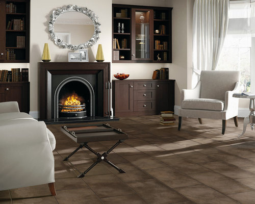 Inspiration For A Mid Sized Contemporary Formal Vinyl Floor And Brown Floor  Living Room Remodel Part 44