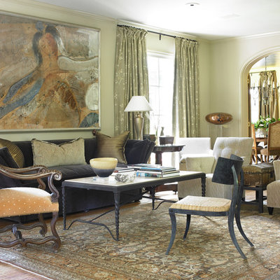 Elegant living room photo in Dallas with beige walls