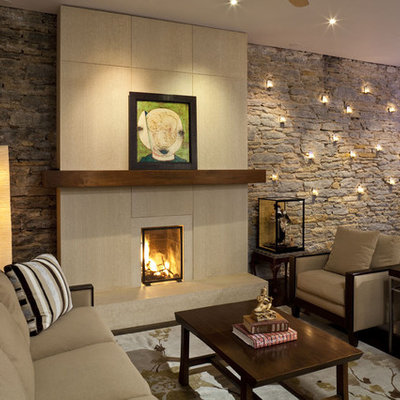 Living room - contemporary living room idea in Minneapolis with no tv