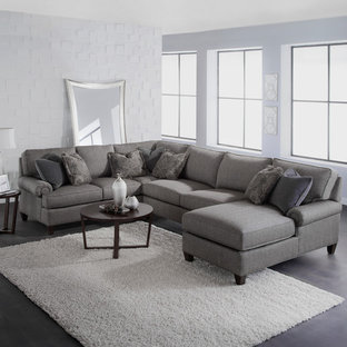 Large transitional formal and open concept concrete floor living room photo in Boston with white walls, no fireplace and no tv
