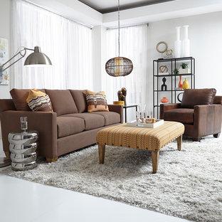 Esempio di un grande soggiorno moderno aperto con sala formale, pareti bianche, pavimento in linoleum, nessun camino, nessuna TV e pavimento grigio