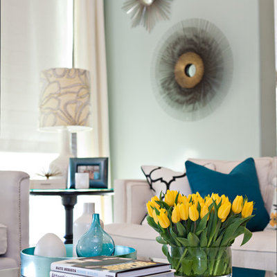 Example of a trendy living room design in Dallas with blue walls