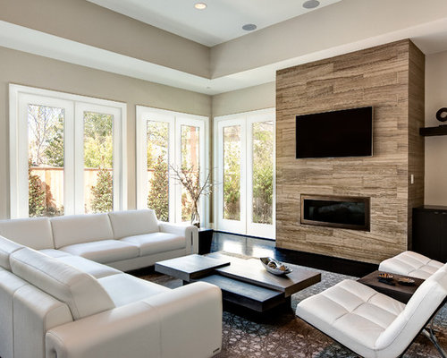 SaveEmail - Wood And Tile Fireplace Houzz