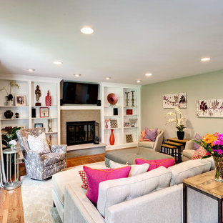 Inspiration for a contemporary living room remodel in Philadelphia with gray walls
