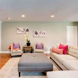 Living room - contemporary living room idea in Philadelphia with gray walls