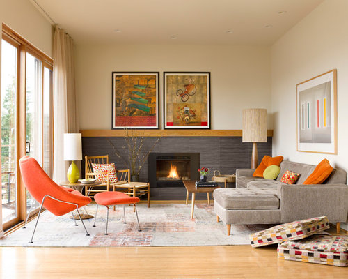 Mid Century Modern Fireplace Design midcentury modern living room with a tile fireplace surround ideas
