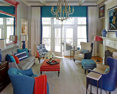 Red and blue living room design ideas remodels photos for Red and blue living room ideas