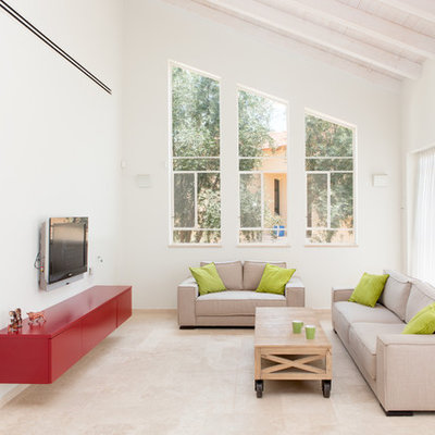 Example of a trendy formal and open concept living room design in Other with white walls and a wall-mounted tv