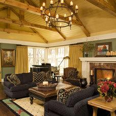 Farmhouse Living Room by DESIGNS! - Susan Hoffman Interior Designs