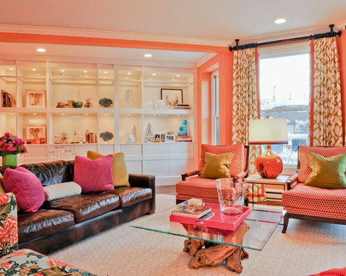 Eclectic Living Room Photo In Boston With Orange Walls