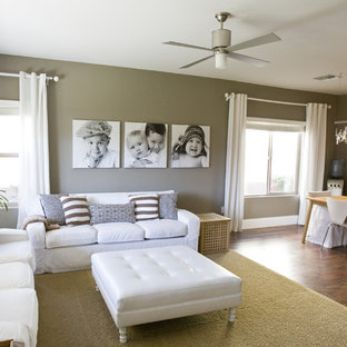 Living room - contemporary open concept living room idea in Salt Lake City with beige walls
