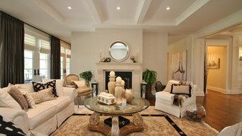 Living Room - Drapes, Hunter Douglas Romans, Farrow & Ball (Skimming Stone)