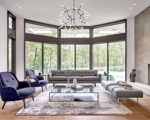 Example Of A Large Trendy Open Concept And Formal Light Wood Floor Living  Room Design In Part 42