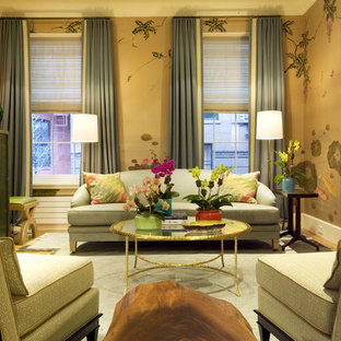 Inspiration for a contemporary formal living room remodel in New York with a standard fireplace