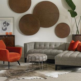 Foto di un soggiorno minimalista di medie dimensioni e aperto con pareti bianche, moquette, nessun camino e pavimento grigio