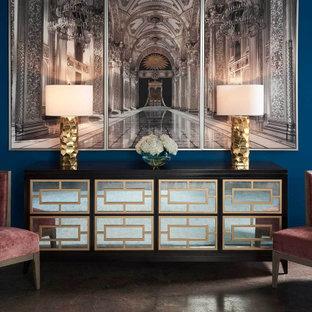 Imagen de salón para visitas actual, de tamaño medio, con paredes azules, suelo de baldosas de porcelana y suelo gris