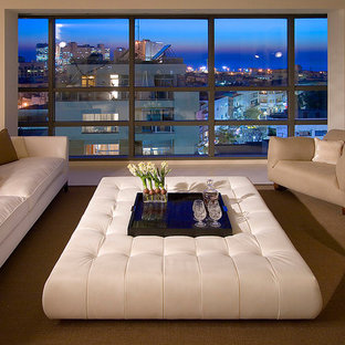 Large trendy living room photo in Other with beige walls