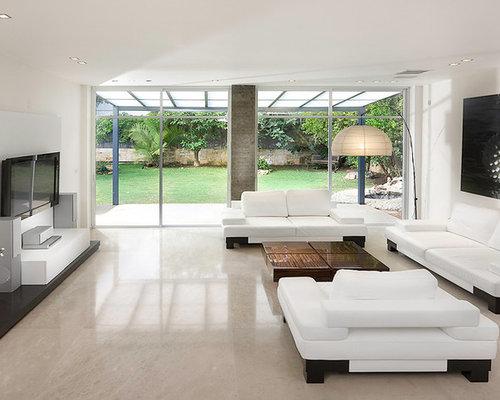 Living Room   Huge Modern Marble Floor And Beige Floor Living Room Idea In  Other With