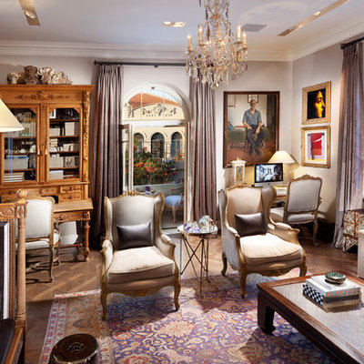 Inspiration for an eclectic formal living room remodel in Other with purple walls