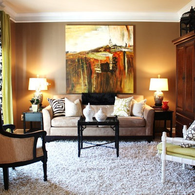 Living room - contemporary living room idea in Charlotte with brown walls