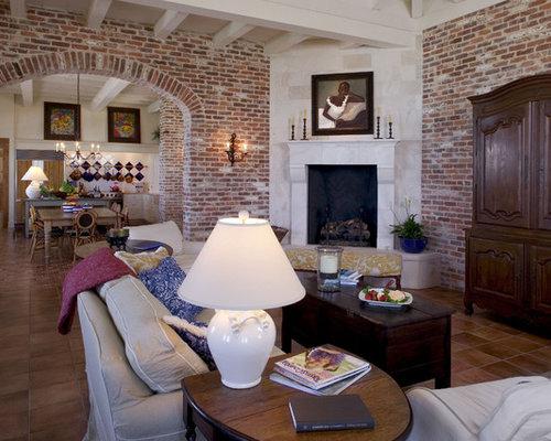Tropical Terra Cotta Tile Floor Living Room Ideas Design Photos