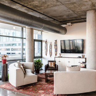 Urban Concrete Floor And Gray Living Room Photo In Denver With White Walls A