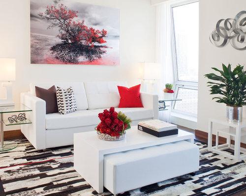 Superb Small Contemporary Open Concept Living Room Idea In Miami With White Walls