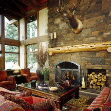 Rustic Living Room by MCM Design
