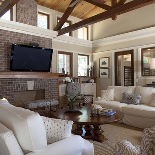 Inspiration For A Large Contemporary Medium Tone Wood Floor Living Room Remodel In Atlanta With Beige