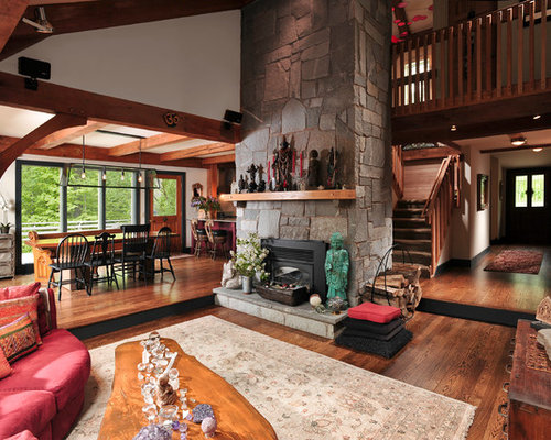 Example Of A Large Mountain Style Open Concept Living Room Design In Chicago With Stone
